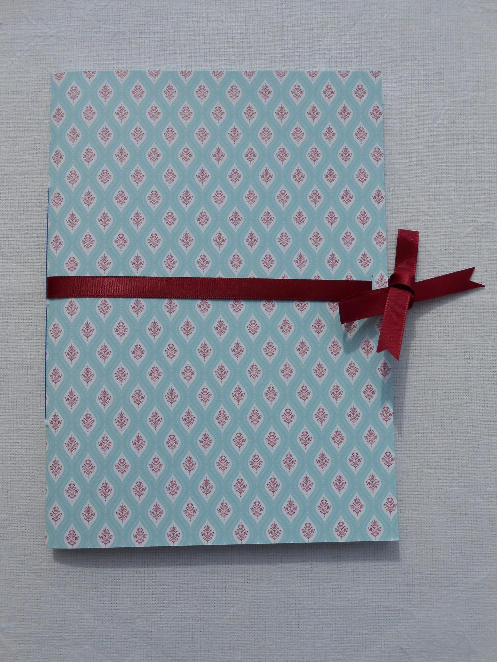 A5 Handstitched Notebook Regency Brighton Style in Duck Egg Blue and Red with Burgundy Ribbon