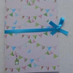 A5 Handstitched Notebook Bunting Butterflies Birdhouses Pink Cover with Turquoise Ribbon